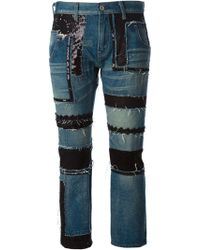 Junya Watanabe Cropped Patchwork Jeans - Lyst