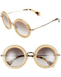 Miu Miu 49Mm Round Glitter Sunglasses - Lyst