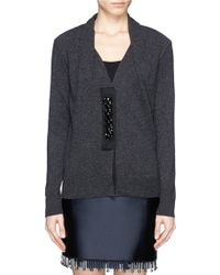 Lanvin Embroidery Placket Wool Cardigan - Lyst