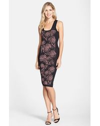 Nicole Miller Pineapple Knit Jacquard Body-Con Dress multicolor - Lyst