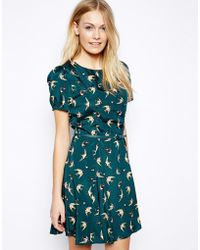 Oasis Bird Print Belted Skater Dress - Lyst
