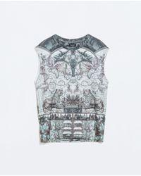 Zara Blue Printed Sweatshirt - Lyst