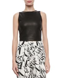 Alice + Olivia Lorita Leather Crop Top - Lyst