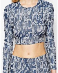 Asos Denim Crop Top In Premium Jacquard Animal Print - Lyst