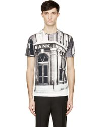 Carven Black and White Bank Print T_shirt - Lyst