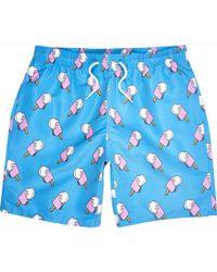 River Island Blue Ice Cream Print Mid Length Swim Shorts - Lyst