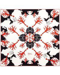 Kinloch - Coral Print Silk Scarf - Lyst