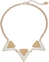 Guess Three Textured Triangle Necklace - Lyst