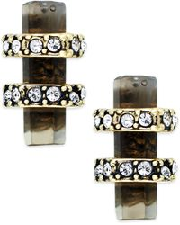 House Of Harlow Gold-tone Stone Bar Stud Earrings - Lyst