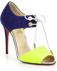 Christian Louboutin Mayerline Lace-Up Suede & Leather Sandals multicolor - Lyst