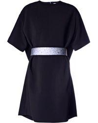 Balenciaga Belted Crepe Dress - Lyst