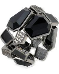 Steve Madden Hematite-tone Black Stone and Pavé Geometric Stretch Bracelet - Lyst
