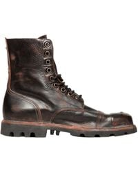 Diesel Vintage Effect Lace-Up Leather Boots brown - Lyst
