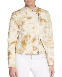 3.1 Phillip Lim Splatter Print Leather-Trimmed Denim Moto Jacket - Lyst