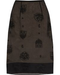 Erdem Aysha Embroidered Silkgazar Pencil Skirt - Lyst