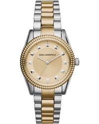 Karl Lagerfeld Ladies Two Tone Petite Stud Watch gray - Lyst