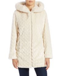 Gallery - Faux Fur-trimmed Quilted Coat - Lyst