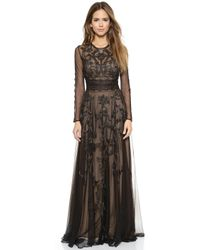 Marchesa Voyage Embroidered Long Sleeve Gown - Black - Lyst