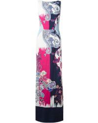 Etro Long Floral Print Dress - Lyst