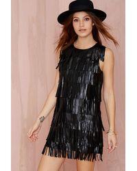 Nasty Gal Shake It Up Fringe Vegan Leather Dress - Lyst