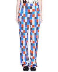 Emilio Pucci | Check Print Wide Leg Crepe Pants | Lyst