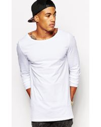 Asos Longline Long Sleeve Tshirt with Boat Neck - Lyst
