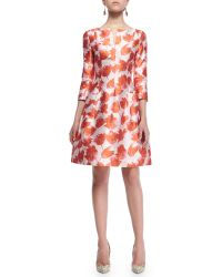 Oscar de la Renta 3/4-Sleeve Petal-Print Silk Dress - Lyst