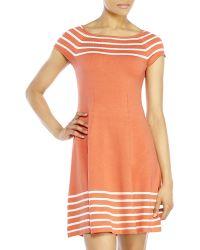 Eliza J Stripe Knit Fit & Flare Dress - Lyst