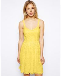 Asos Lace Skater Dress - Lyst