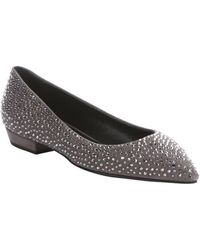 Giuseppe Zanotti Malta Suede Crystal Studded Detail Pointed Toe Flats - Lyst