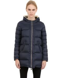 Colmar Originals Faux Fur Hooded Nylon Down Jacket - Lyst