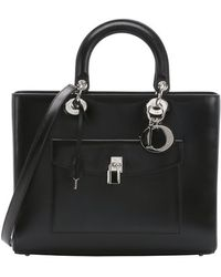 Dior Black Leather 'Lady Dior' Convertible Top Handle Bag black - Lyst