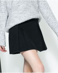 Zara Pleated Denim Skirt - Lyst