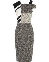 Roland Mouret Tipula Stretchjacquard and Striped Crepe Dress - Lyst