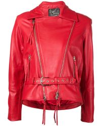 Claire Barrow - Embroidered Back Biker Jacket - Lyst