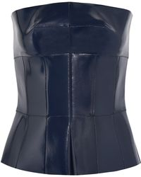 Alexander McQueen Coated Leather Peplum Top - Lyst
