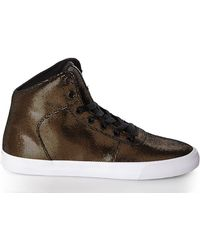 Supra Black & Gold Cuttler Mid-Top Sneakers - Lyst