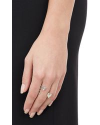 Repossi - Heart-Shaped Diamonds & White Gold Serti Sur Vide Cuff Ring - Lyst