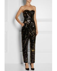 Milly Leather-trimmed Sequined Tulle Jumpsuit - Lyst