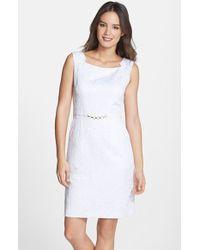 Ellen Tracy Jacquard Sheath Dress - Lyst