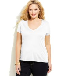 Michael Kors Michael Plus Size V-Neck High-Low Tee - Lyst