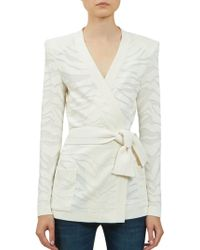 Balmain | Deveree Textured Wrap Cardigan | Lyst