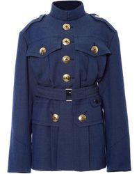 Marc Jacobs Blue Melange Suiting Military Coat - Lyst