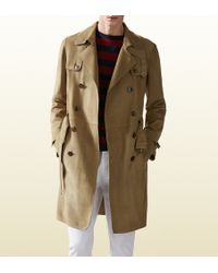 Gucci Khaki Suede Trench Coat - Lyst