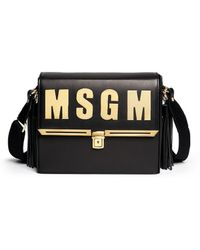 MSGM Structured Leather Satchel black - Lyst