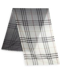 Burberry Check Cashmere Scarf gray - Lyst