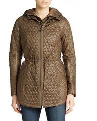 Laundry by Shelli Segal Quilted Zip-Front Parka - Lyst