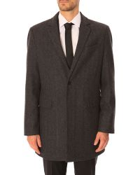 Celio Club Obarry Grey Leather Classic Collar Coat gray - Lyst