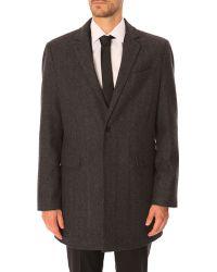 Celio Club Obarry Grey Leather Classic Collar Coat - Lyst