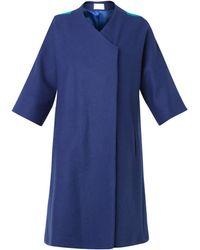 OSMAN Contrast-Panel Wool-Blend Coat - Lyst